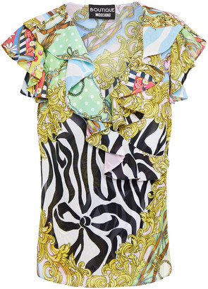 Boutique Moschino Wrap-effect Ruffled Printed Crepe Top