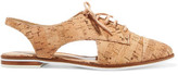 Schutz Gabry Cutout Cork-Effect Leather Brogues