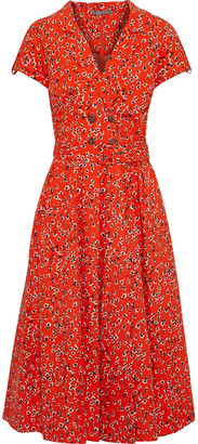 Lela Rose Button-embellished Floral-print Cotton-poplin Midi Dress