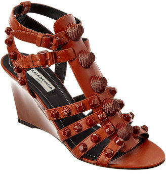 Balenciaga Studded Leather Wedge Sandal