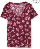 Aeropostale Womens Prince & Fox Floral Print V-Neck Skinny Tee Shirt