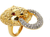 Kenneth Jay Lane Gold Ring Lion with Ruby