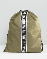Adidas Originals Drawstring Backpack With Taping In Green Ay9001