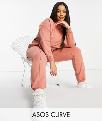 ASOS DESIGN Curve tracksuit oversized sweat / oversized jogger with pintuck in acid wash in terracotta