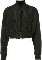 Yohji Yamamoto cropped bomber jacket - women - Polyurethane/Cupro/Triacetate - 2
