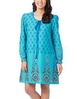 Aqua Geometric Shift Dress - Women