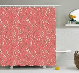 Coral Shower Curtain by Ambesonne, Leaves on Branches Botanical Theme Foliage Forest Curvy Twigs Seasonal Nature, Fabric Bathroom Decor Set with Hooks, 75 Inches Long, Coral Peach Black