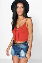 boohoo NEW Womens Ameilie Lace Up Front Crop Cami in Viscose 5% Elastane