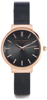 Olivia Burton Women's Hackney Black Mesh Watch Rose Gold