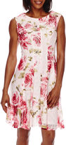 Studio 1 Sleeveless Lace Floral Fit and Flare Dress - Petite