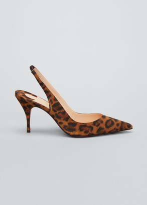 Christian Louboutin Clare 80mm Leopard Slingback Red Sole Pumps