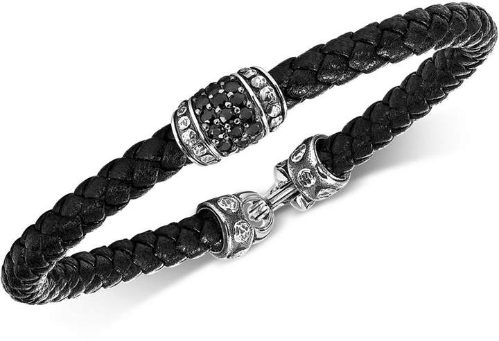 Scott Kay Men's Black Sapphire Woven Leather Bracelet (1-1/3 ct. t.w.) in Sterling Silver