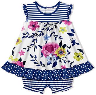 Little Millie Girls' Infant Bodysuits Willow - White & Navy Stripe Willow Floral Skirted Bubble Bodysuit - Infant