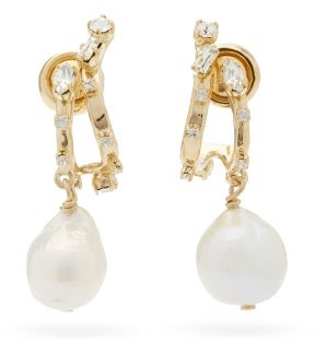 Givenchy Crystal-embellished Baroque-pearl Drop Earrings - Gold
