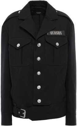 Versace Appliqued Buckle-detailed Cotton-canvas Jacket