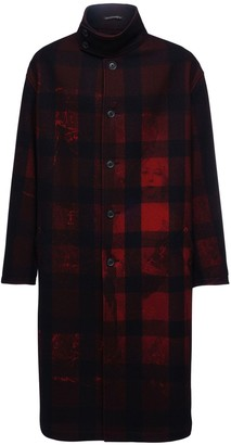 Yohji Yamamoto All Over Print Wool Blend Coat