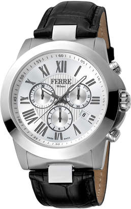 Ferré Milano Men's 44mm Stainless Steel Roman Diver Watch with Leather Strap, Steel/Black