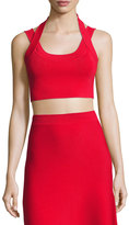Alexander Wang Sleeveless Matte Stretch Crop Top, Red