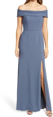Dessy Collection Off the Shoulder Crepe Column Gown