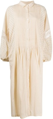 Mes Demoiselles Pleated Polka Dot Midi Dress