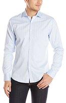 Stone Rose Men's Essential Tonal Herringbone Long Sleeve Shirt