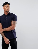 Hugo By Hugo Boss Polo Tipped Stretch Slim Fit In Navy