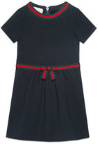 Gucci Short-Sleeve Web Ribbon Dress, Size 4-12
