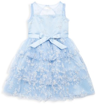 Marchesa Notte Mini Little Girl's Valencia Floral Bow Tiered Dress