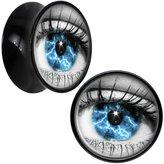 """Body Candy Black Acrylic Blue Eye Saddle Plug Pair 5/8"""""""