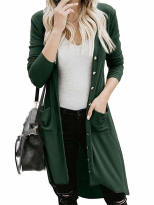 HanPaint Women's Long Sleeve Knitwear Button Down Knit Ribbed Cardigans Pocket Outerwear Tops Light Gray M