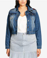 City Chic Trendy Plus Size Cotton Patch Cropped Denim Jacket