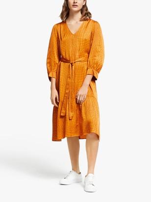 Gestuz Tabby Animal Print Belted Flared Dress, Golden Oak