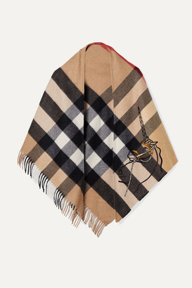 Burberry Fringed Embroidered Checked Cashmere Wrap - Beige
