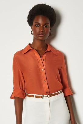 Karen Millen Plain Silk Cotton Shirt