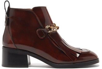 See by Chloe Mahe Chain-link Fringed Leather Ankle Boots - Burgundy