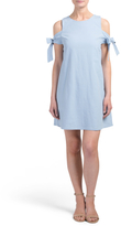 Juniors Cold Shoulder Dress With Tie Sleeve