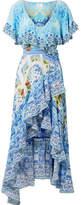 Camilla Rio Crystal-embellished Printed Washed-silk Wrap Maxi Dress - Azure