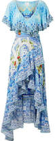 Camilla Rio Embellished Printed Silk Crepe De Chine Wrap Maxi Dress - Azure