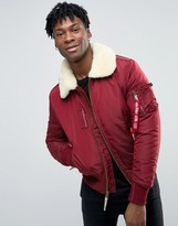 Alpha Industries Bomber Jacket With Shearling Collar In Slim Fit Burgundy
