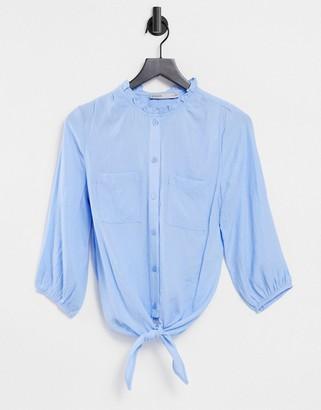 Oasis linen look ruffle tie shirt in light blue