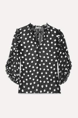 Alice + Olivia Julius Ruffled Polka-dot Fil Coupe Silk-blend Chiffon Blouse - Black
