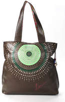 Desigual Brown Leather Scalloped Trimmed Laser Cut Out Tote Handbag