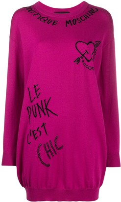 Boutique Moschino Embroidered Graffiti Jumper Dress