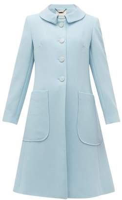 Goat Parisian Rounded Collar Wool Coat - Womens - Light Blue