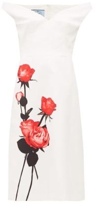 Prada Rose-print Sweetheart-neckline Cotton Dress - White Print