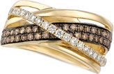 LeVian Le Vian Chocolate and White Diamond Crossover Ring in 14k Gold (9/10 ct. t.w.)