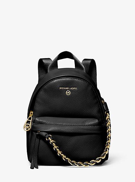 MICHAEL Michael Kors MK Slater Extra-Small Pebbled Leather Convertible Backpack - Black - Michael Kors