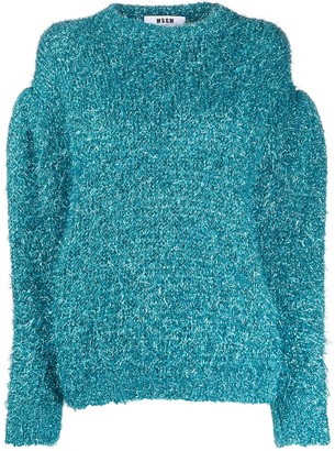 MSGM Sparkle Knit Balloon-Sleeve Jumper