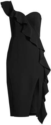 Aidan Mattox Crepe One-Shoulder Ruffle Sheath Dress