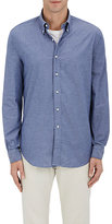 Barneys New York MEN'S DOBBY-WEAVE-DOT COTTON CHAMBRAY SHIRT
